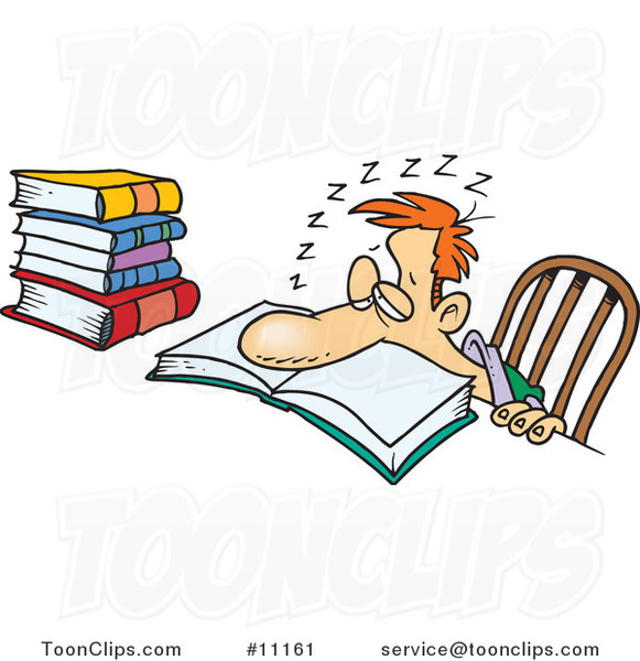 Cartoon Tired Guy Falling Asleep While Studying