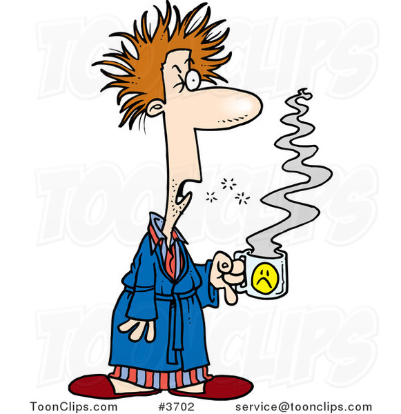cartoon tired guy with bad hair  holding coffee 3702 by football images clip art free football pics clip art