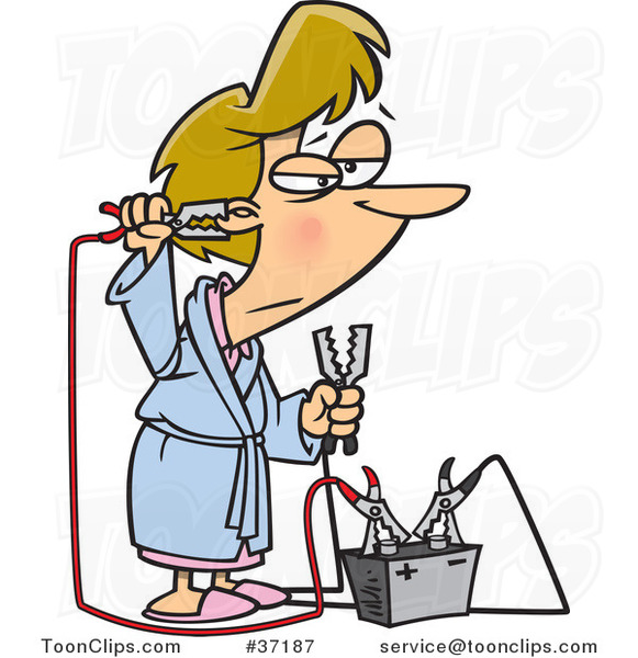 Cartoon Tired Lady Trying to up Her Energy with a Battery Jump Start Battery