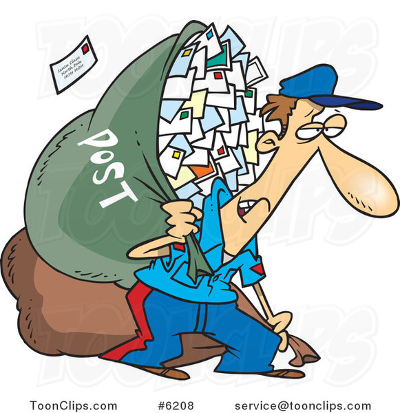 Cartoon Tired Mail Guy Carrying a Big Bag