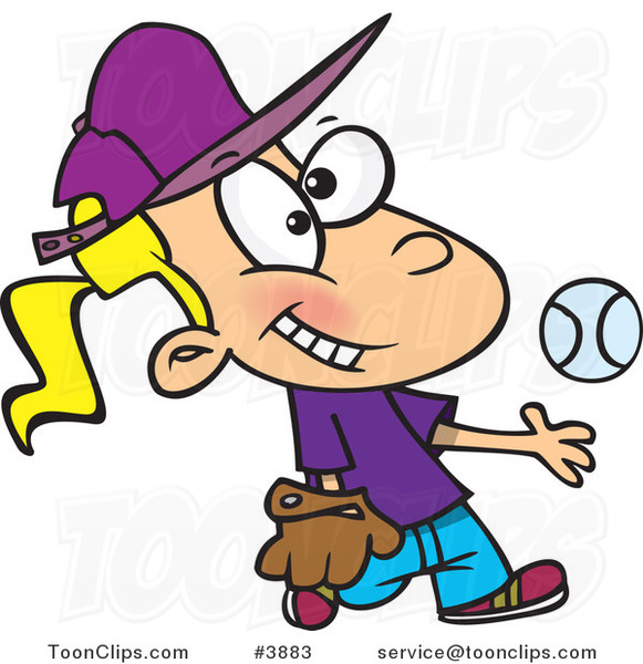 Cartoon Tomboy Girl Tossing and Catching a Baseball