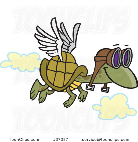 Cartoon Tortoise Flying with Pilot Goggles