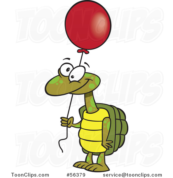Cartoon Tortoise Turtle Holding a Red Party Balloon