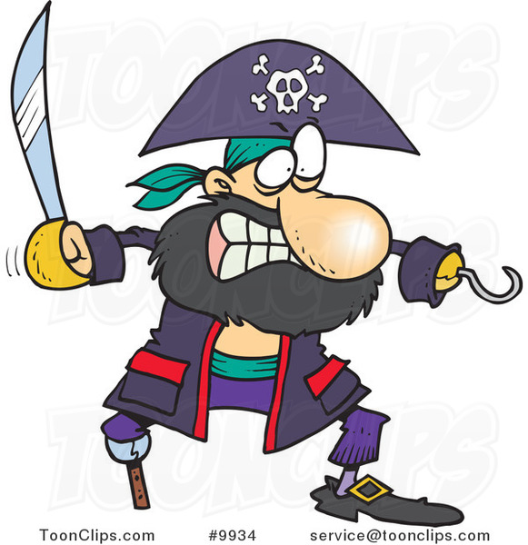 Cartoon Tough Pirate with a Sword