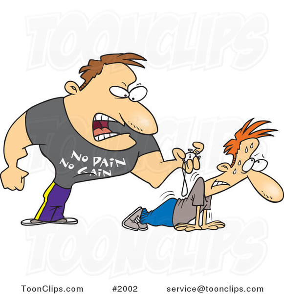 Cartoon Tough Trainer Making His Client Doing Pushups