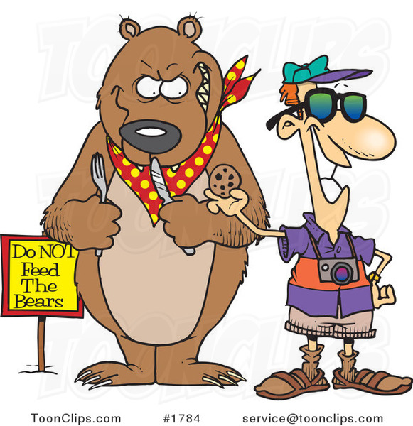 Cartoon Tourist Feeding a Cookie to a Bear for a Photo Op