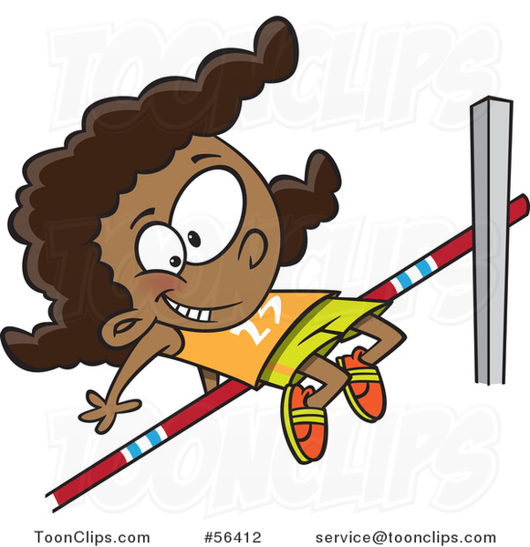 Cartoon Track and Field Black Girl Doing the High Jump