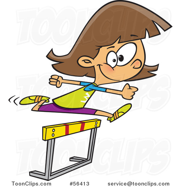Cartoon Track and Field Brunette White Girl Leaping a Track Hurdle