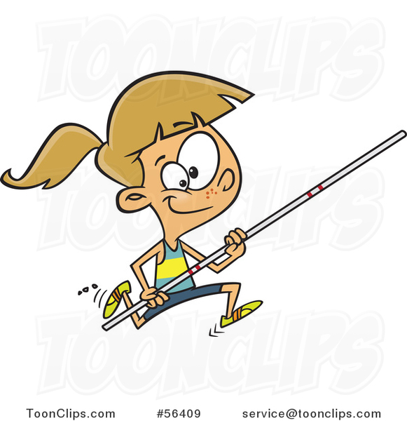 Cartoon Track and Field Dirty Blond White Pole Vault Girl Running