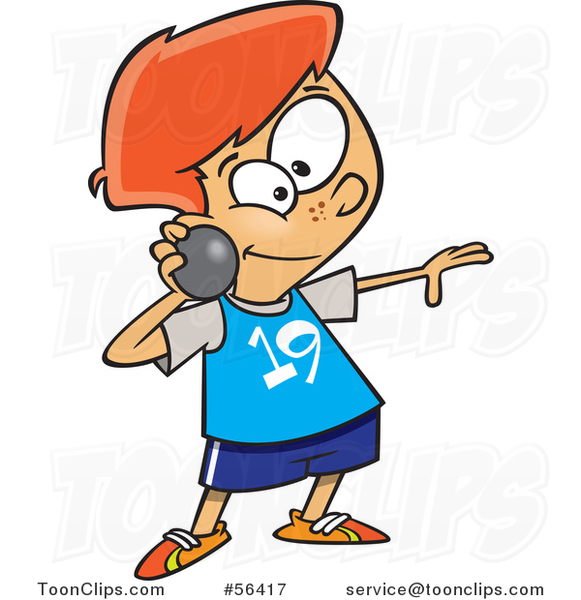 Cartoon Track and Field Red Haired White Boy Throwing a Shot Put