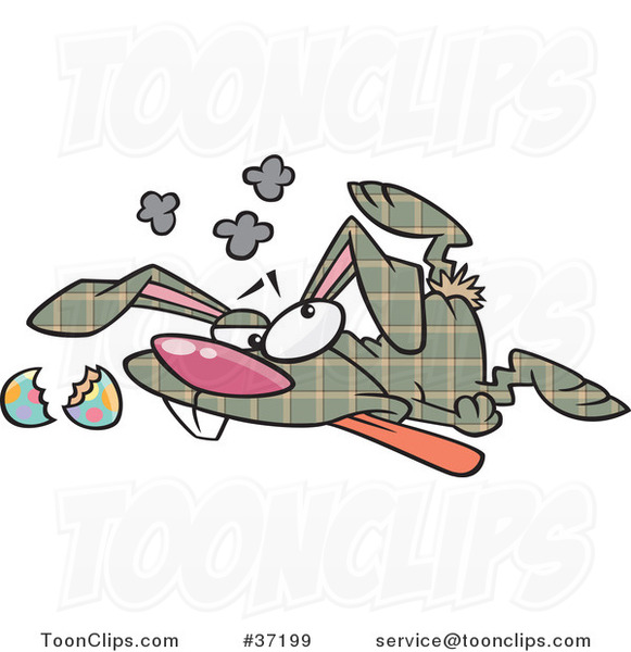 Cartoon Trampled Plaid Easter Bunny Crushed on the Floor
