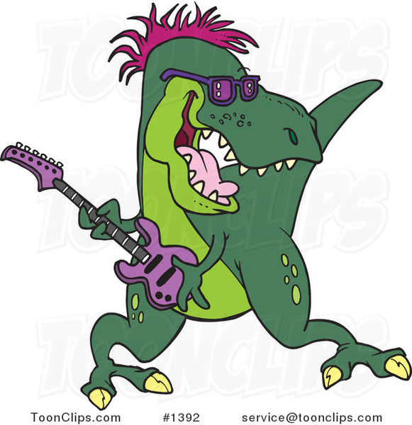 Cartoon T-Rex Playing a Guitar