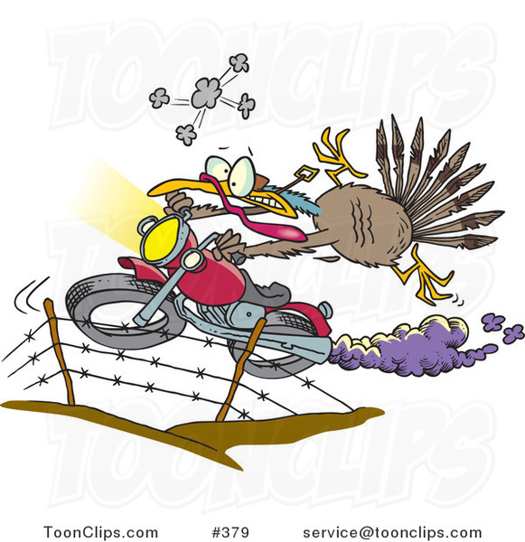 Cartoon Turkey Bird Escaping on a Motorcycle