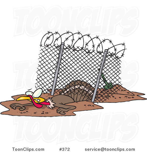 Cartoon Turkey Bird Escaping Under an Enclosure