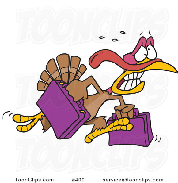 Cartoon Turkey Bird Running in Panic with Luggage