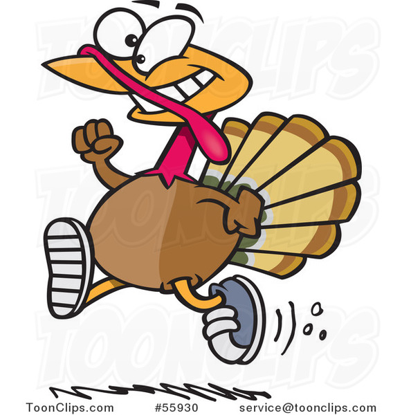 Cartoon Turkey Bird Running with Sneakers on