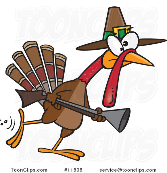 Cartoon Turkey Pilgrim Hunting
