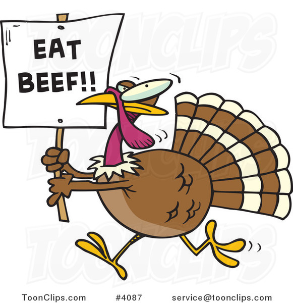 Cartoon Turkey with an Eat Beef Sign