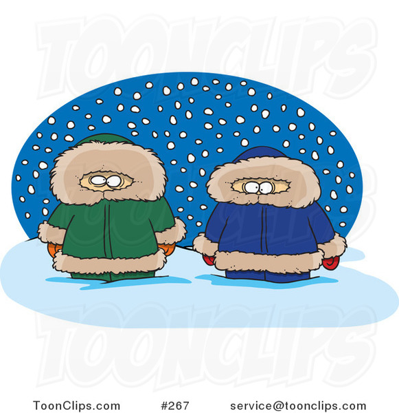 Cartoon Two Alaskans in the Snow over a Blue Oval