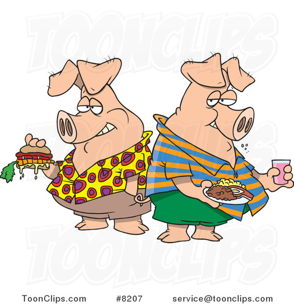 Cartoon Two Hogs Pigging out