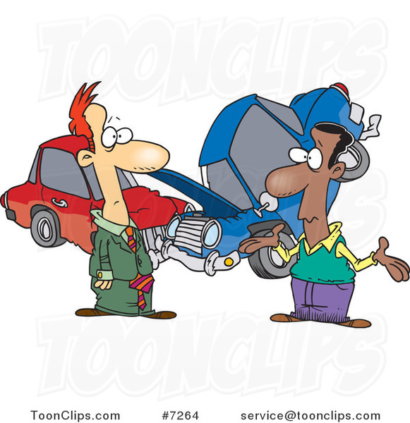 Cartoon Two Men Roadside After A Fender Bender 7264 By