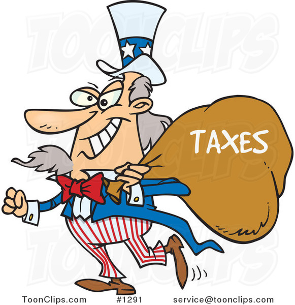 Cartoon Uncle Sam Grinning and Carrying a Money Bag over His Shoulder