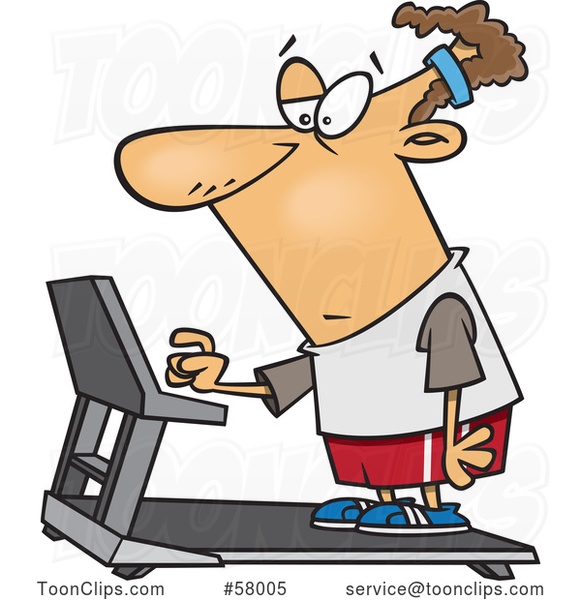 Cartoon Unenthused White Guy Setting a Treadmill for a Workout
