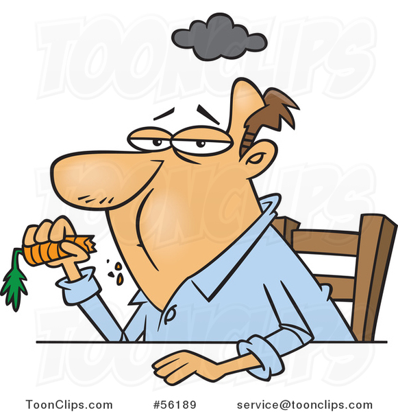 Cartoon Unhappy Dieting White Guy Eating a Carrot