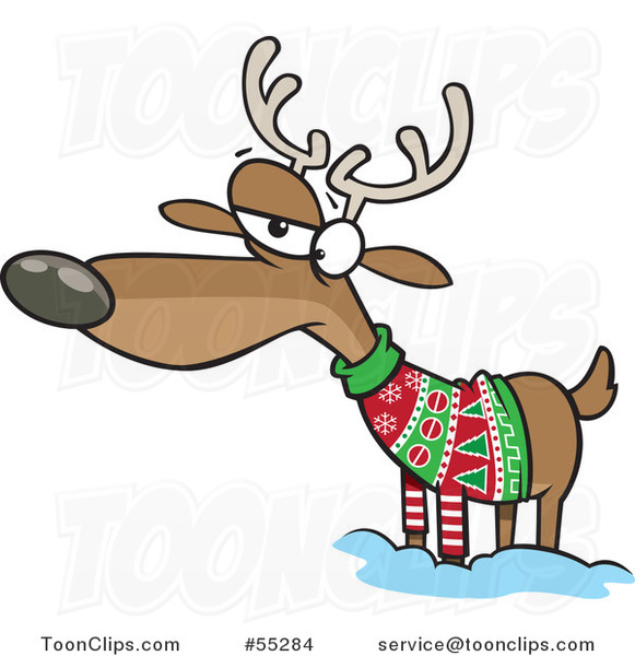 Unhappy reindeer in an ugly christmas sweater 55284 by ron leishman
