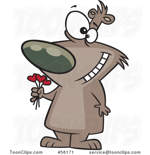 Cartoon Valentines Day Bruin Brown Bear Holding a Heart Bouquet