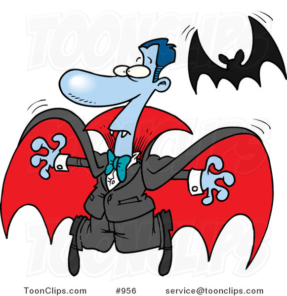 Cartoon Vampire and Flying Bat