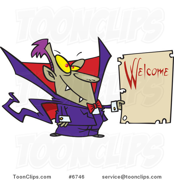 Cartoon Vampire Holding a Welcome Sign
