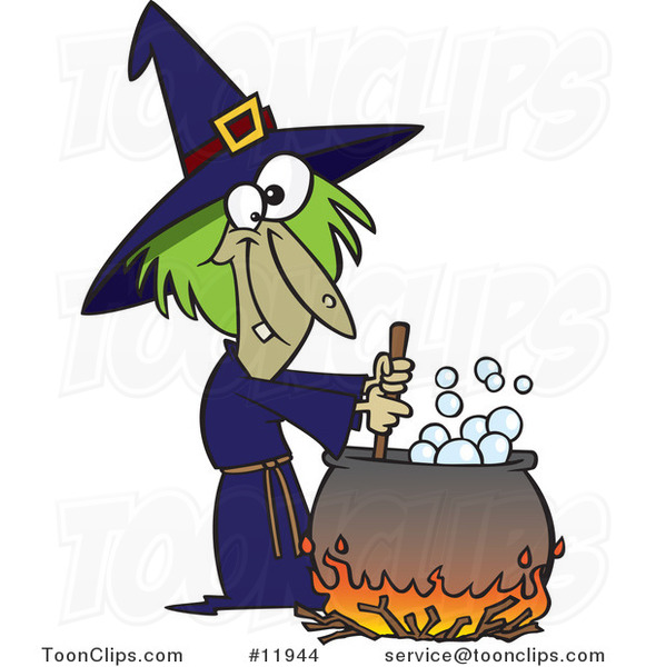 Cartoon Warted Green Witch Stirring Her Potion
