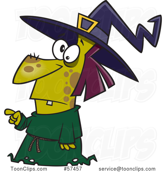 Cartoon Warty Witch Pointing