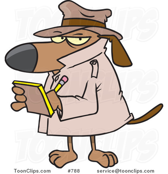 Cartoon Watch Dog Detective Taking Notes
