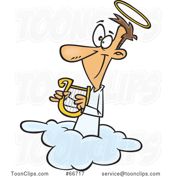Cartoon White Angel Holding a Lyre on a Cloud