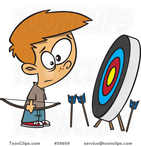 Cartoon White Archery Boy with Many Missed Arrows Around a Target