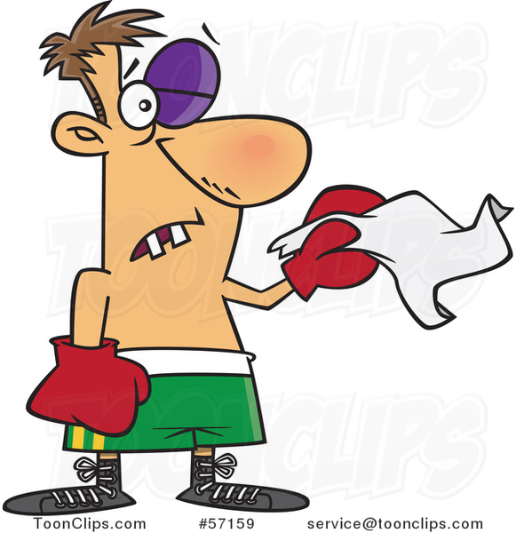 Cartoon White Boxer with Missing Teeth and a Black Eye, Throwing in the Towel
