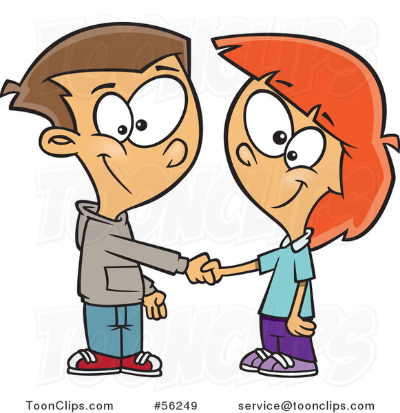 Cartoon White Boy and Girl Shaking Hands on a Deal or Friendship