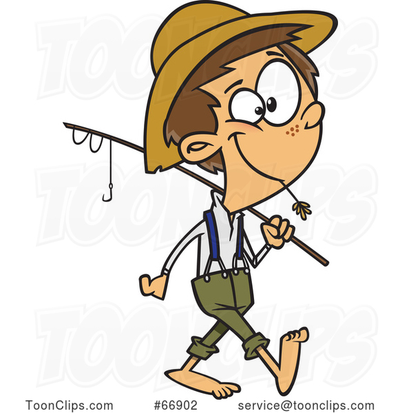 Cartoon White Boy Carrying a Fishing Pole