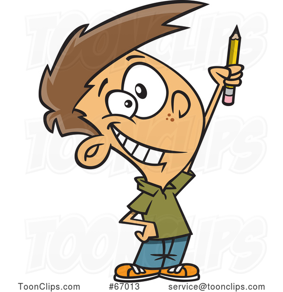 Cartoon White Boy Classroom Warrior Holding up a Pencil