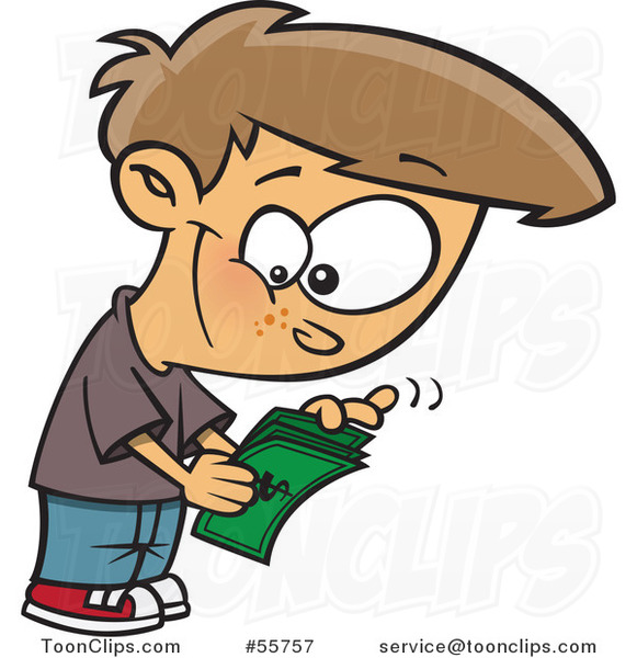 Cartoon White Boy Counting His Allowance Money