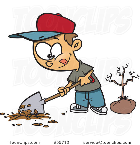 Cartoon White Boy Digging a Hole to Plant a Tree on Arbor Day