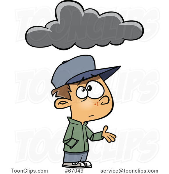 Cartoon White Boy Feeling Under the Weather, with a Cloud