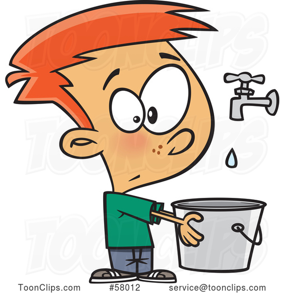 Cartoon White Boy Holding a Pail Under a Faucet, Drop in the Bucket