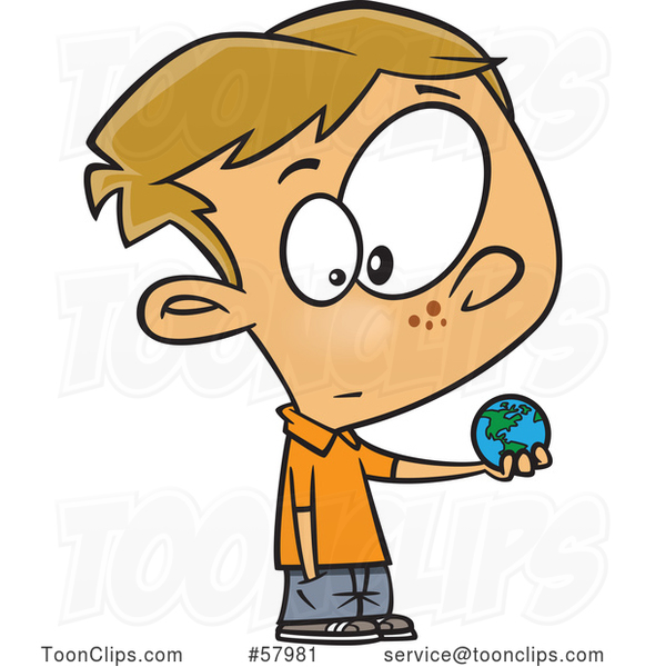 Cartoon White Boy Holding a Small World