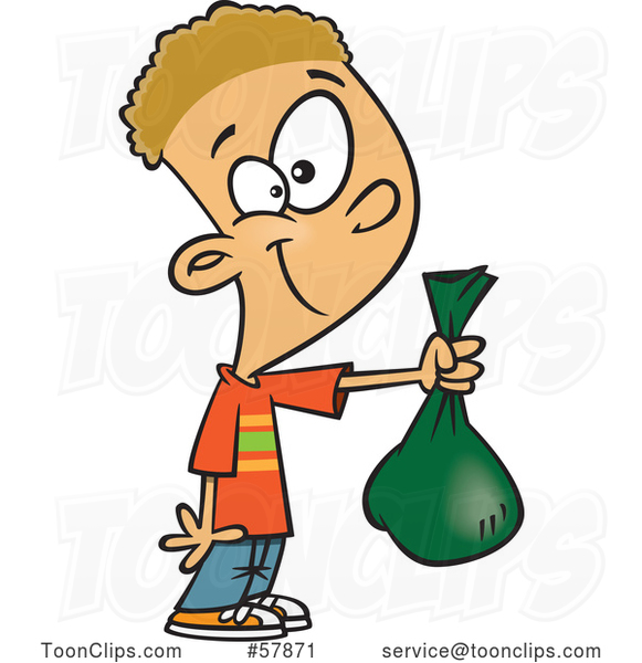 Cartoon White Boy Holding out a Bag