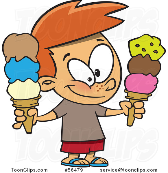 Cartoon White Boy Holding Two Waffle Ice Cream Cones