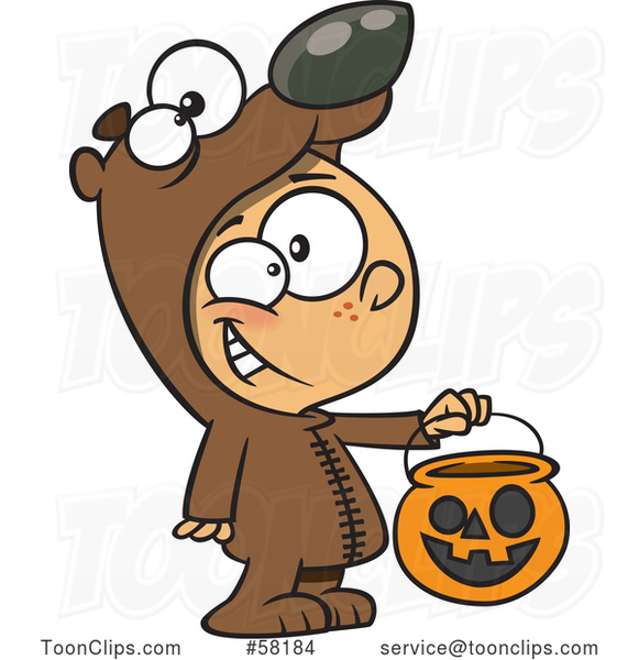 Cartoon White Boy in a Bear Halloween Costume, Holding out a Trick or Treat Pumpkin Bucket