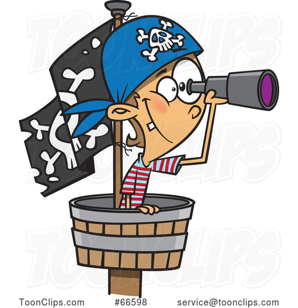 Cartoon White Boy Pirate Using a Telescope in a Crows Nest
